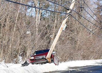Truck hits utility pole in Bennington. 021417