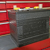 "New 6-volt ""Delco"" battery, from the Restoration Battery Company in Ohio, June 20, 2014."