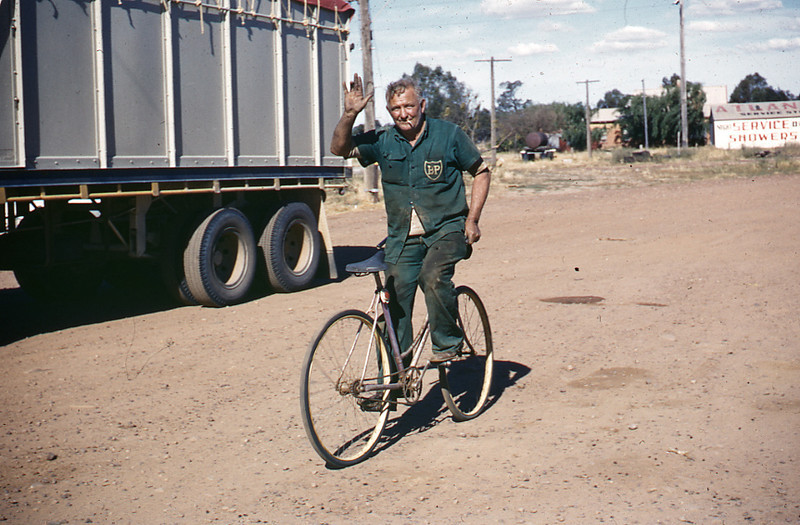 Ted Martin, owner of Martins' truck stop at Gillenbah (Sth Narrandera) riding bike backwards. Ted would sometimes fish in the river and bring the days catch back for the dinner in the roadhouse.