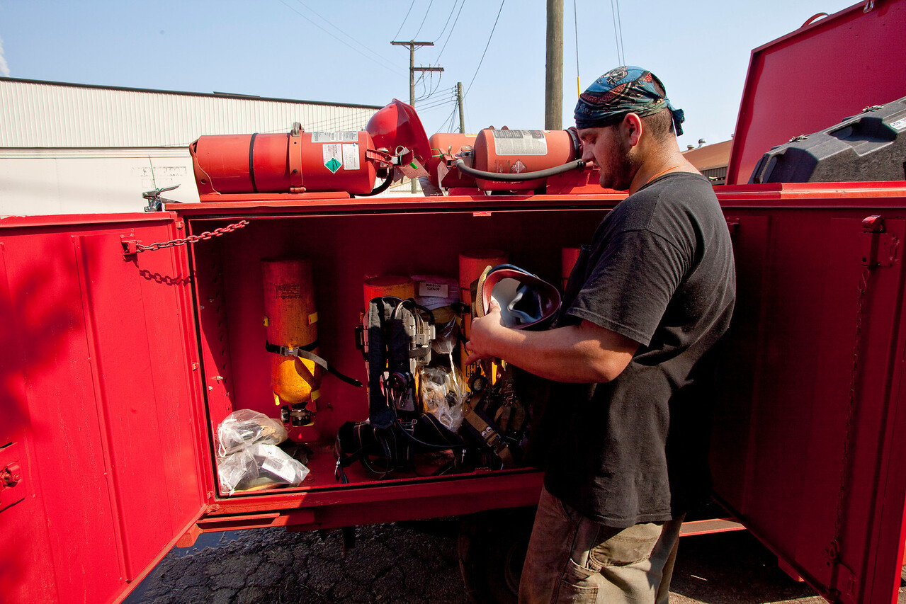 """Joey, Mike  when through the Fire truck to test out the Equipment , I was able to helped finish up after my  shift.We pulled  2 sections 1 1/2"""" hose that were bad and 1 2 1/2"""" -1 1/2"""" Y splitter."""