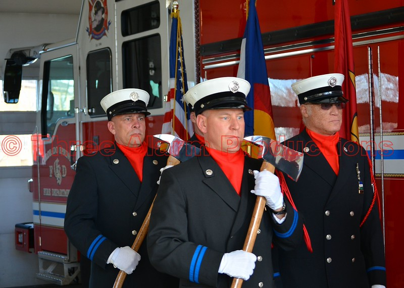 Colorado Springs Fire Department's Honor Guard at the Presentation Ceremony of the new Heavy Rescue 17, in the bay of CSFD Station 17.