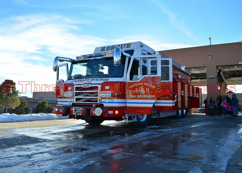 The new Heavy Rescue 17 outside the bay of CSFD Fire Station No. 17.