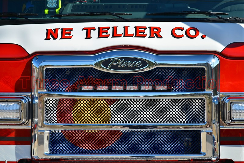 This is the first fire apparatus with a Colorado Flag on the front grill, in the State of Colorado. This new fire engine was built by Pierce Manufacturing for the Northeast Teller County Fire Protection District in Woodland Park, Colorado. Placed into service in their district on April 4, 2015.