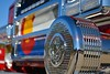 The Colorado State Flag, seen on the grill of this custom built, Pierce Velocity Fire Engine, for Northeast Teller County Fire District, in Woodland Park, Colorado. April 4, 2015