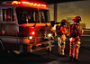 Peterson Air Force Base Fire Engine and crew on the scene of a working commercial building fire.