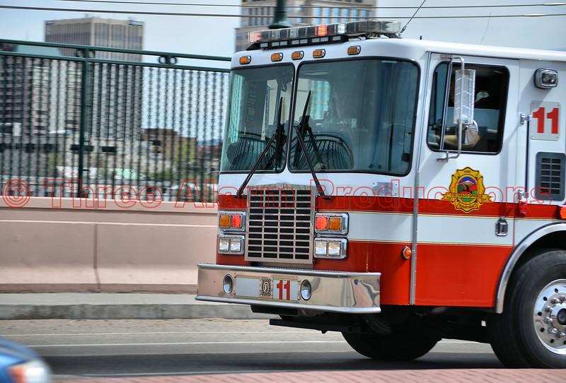Colorado Springs Fire Engine 11 responding to an emergency.