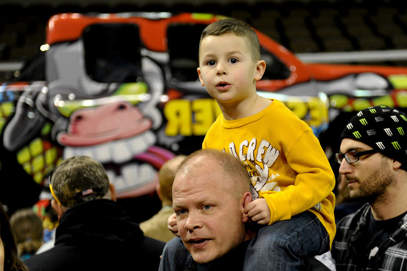 Kids of all ages love the big trucks.  Monster X Tour at The Bank of Kentucky Center in Highland Heights, Kentucky.