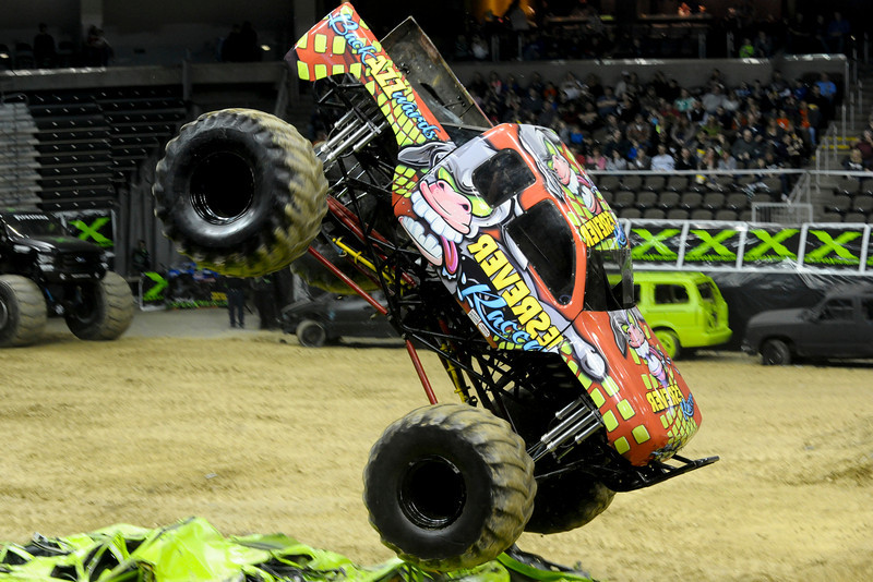 Reverse Racer with driver Ed Miller During the show.  Monster X Tour at The Bank of Kentucky Center in Highland Heights, Kentucky.