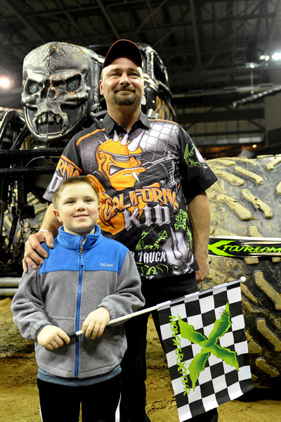California Kid with driver Kevin Post before takes pictures with fans before the show.   Monster X Tour at The Bank of Kentucky Center in Highland Heights, Kentucky.