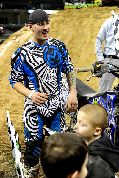 FMX Rider Michael Keeper with the fans before the show.  Monster X Tour at The Bank of Kentucky Center in Highland Heights, Kentucky.