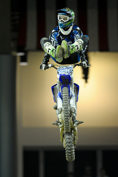 FMX Rider Michael Keeper During the show.  Monster X Tour at The Bank of Kentucky Center in Highland Heights, Kentucky.