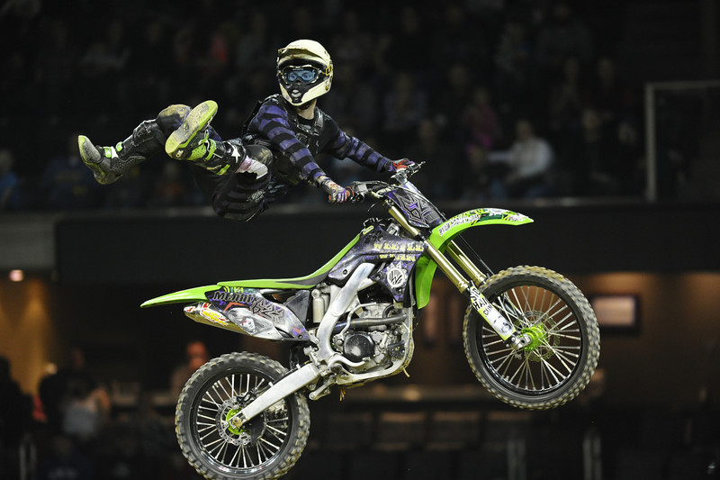 FMX Rider Mark Mernix during the Monster X Tour at The Bank of Kentucky Center in Highland Heights, Kentucky.