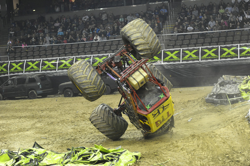 Rock Star with driver Bill Payne and Team Straight Up Racing flips over during the Monster X Tour at The Bank of Kentucky Center in Highland Heights, Kentucky.