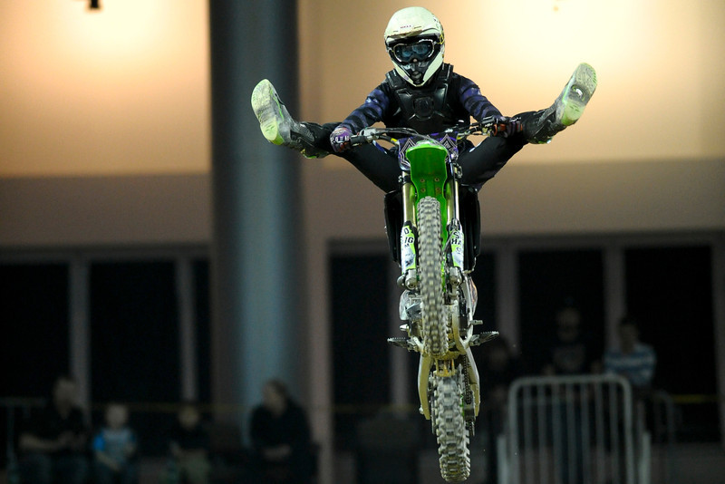 FMX Rider Mark Mernix During the show.  Monster X Tour at The Bank of Kentucky Center in Highland Heights, Kentucky.