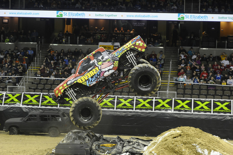 Reverse Racer with driver Ed Miller during the Monster X Tour at The Bank of Kentucky Center in Highland Heights, Kentucky.