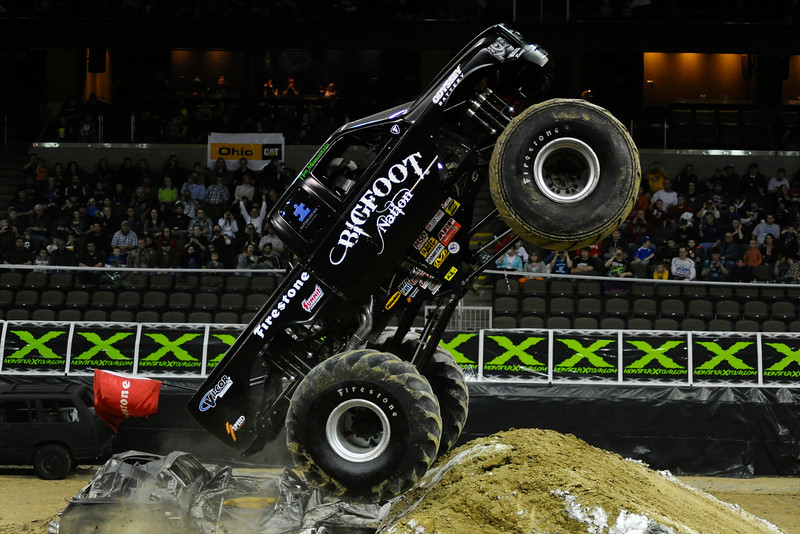 Bigfoot with driver Tim Missentzis During the show.  Monster X Tour at The Bank of Kentucky Center in Highland Heights, Kentucky.