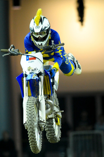 FMX Rider Ed Rossi During the show.  Monster X Tour at The Bank of Kentucky Center in Highland Heights, Kentucky.