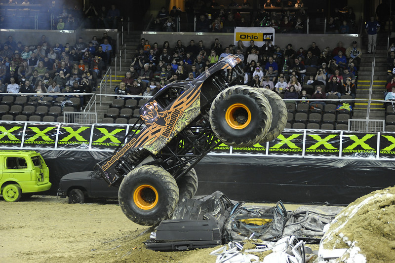 Bucked up with driver Brad Keller during the Monster X Tour at The Bank of Kentucky Center in Highland Heights, Kentucky.