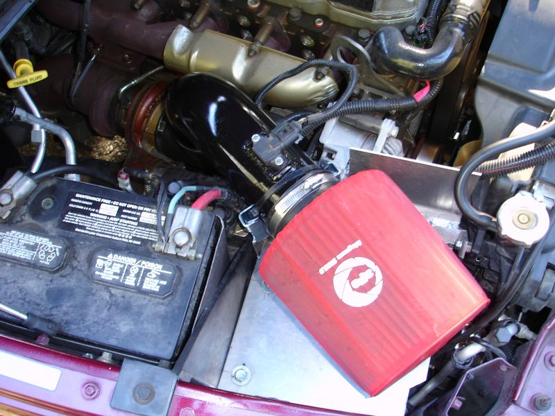 """I have replaced the stock air filter with an """"AFE"""" and installed a smooth intake pipe system.  This has improved airflow which has lowered the EGT's by over 200 degrees when the truck is working under a heavy load."""