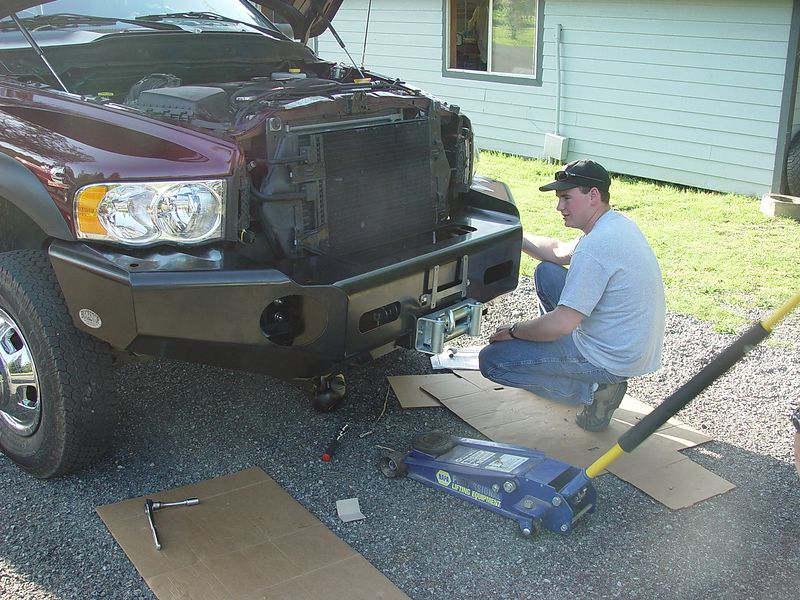 Byron, helping me install the new BuckStop Bumper, and Mile Marker Hydraulic winch.