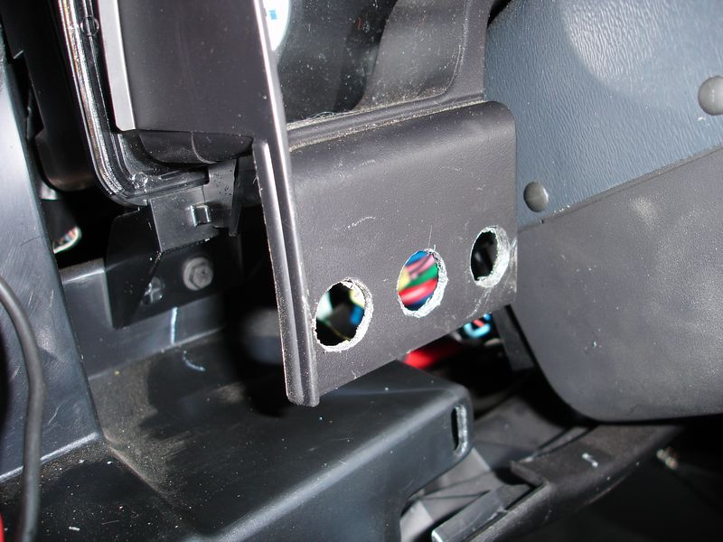 Here I have drilled the switch mounting holes in the dash.