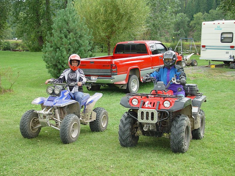 Sally loaned a quad to Donna and took her for a ride in the mountains.