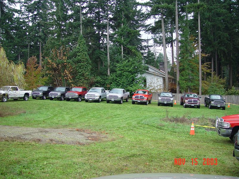 This was taken in Bob's back yard.  My truck is the second one from the right hand side of the line up next to the fence.  Only about half of the trucks that attended this event are in this photo.