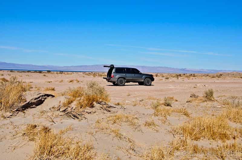 Salt & Sea in the background, Land Cruiser, Ocotillo Wells, Desert.