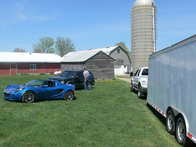 A small section of the barn. Charles' Lotus Elise, Steve's Ty, and the Truck & Trailer. What a perfect day.