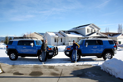 Jerry got an FJ as well. So we had to get a picture of both FJs. This was taken on Christmas Day 2010. Jerry & Patrick in front of their FJs.