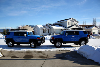 No you are not seeing double.  Jerry like our FJ so much that he got one too!  So on Christmas day we got a picture of both our FJ on the Left & Jerry's FJ on the right.  Taken in front of our driveway. Dec 25, 2010.