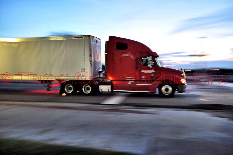 A truck heading West on U.S. Highway 50 through Lamar, Colorado, USA.