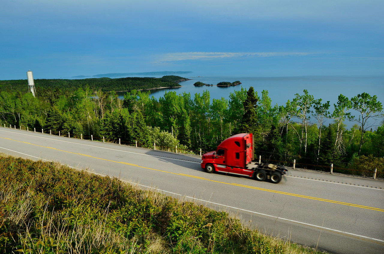 #A Truck Travelling, Lake Superior Circle Route, Terrace Bay, Ontario, Canada