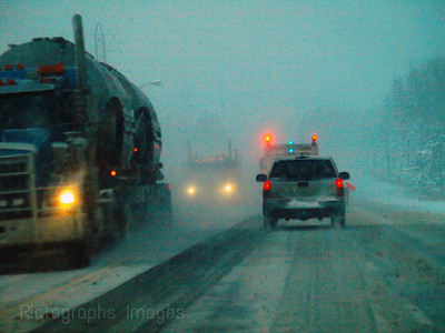 Winter Travel Trucking on the Trans Canada Highway