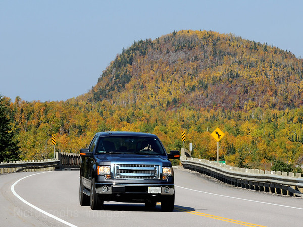 Traveling Truck On The Trans Canada Highway Autumn 2014