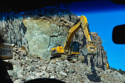 Highway Rockcut, Travel Photo, Ric Evoy Rictographs Images; Big Rigs Moving Rocks