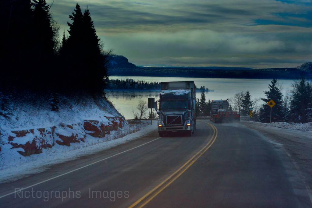 Transport Trucking On The Trans Canada Highway