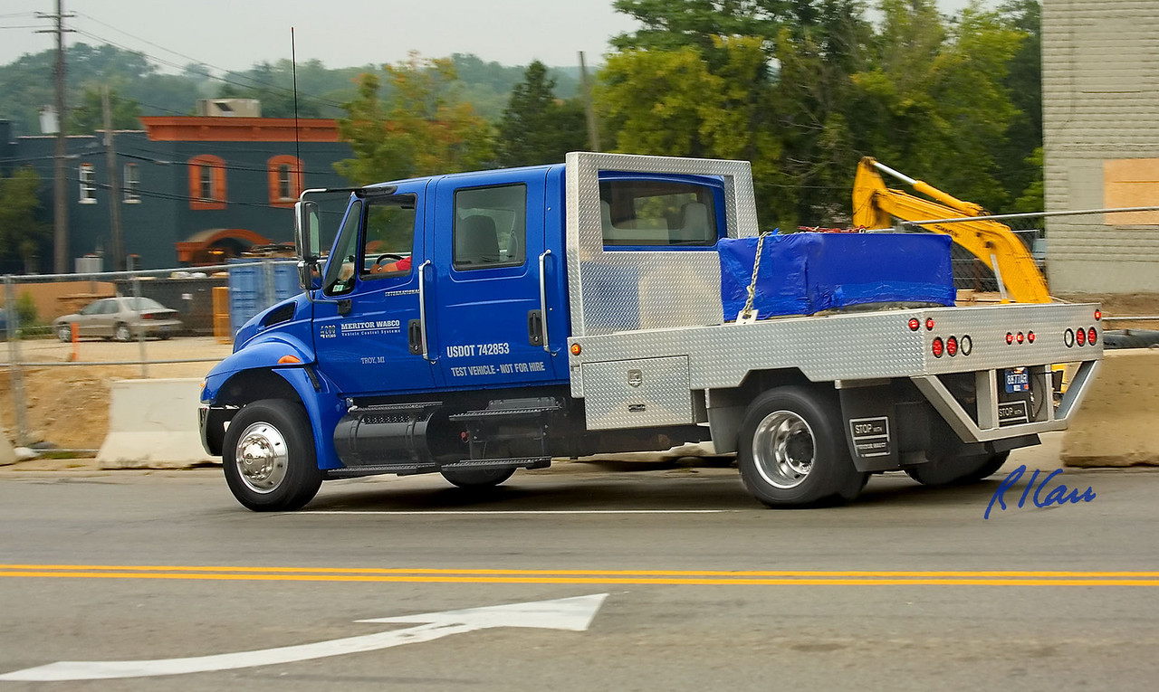 International 4200 medium duty truck test vehicle for Meritor Wabco hydraulic actuation and anti-lock braking systems, Huron Street, Ann Arbor, Michigan, August 14, 2006.
