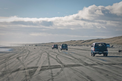 Cruising along the beach, you can reach some high speeds. At low tide around mid day the sand is hard enough that even locals on their standard sedans bring there families down to the ocean. But during winter no one was swimming.