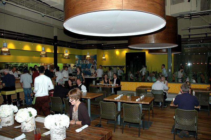 Eco-friendly design, of course! The restaurant features low-voltage lighting and kitchen equipment, low VOC paint, recycled quarry tiles, low-water faucets and reclaimed wood floors. True Food Kitchen participates in a recycling program as part of its membership in the Green Restaurants Association.