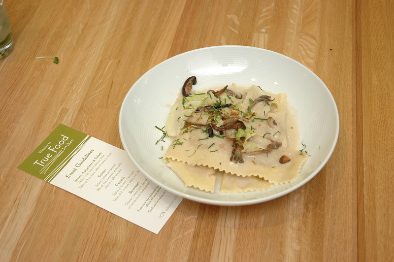 Vegetarian Entree: Butternut Squash Ravioli with Mushrooms, Savoy Cabbage & Pistachios