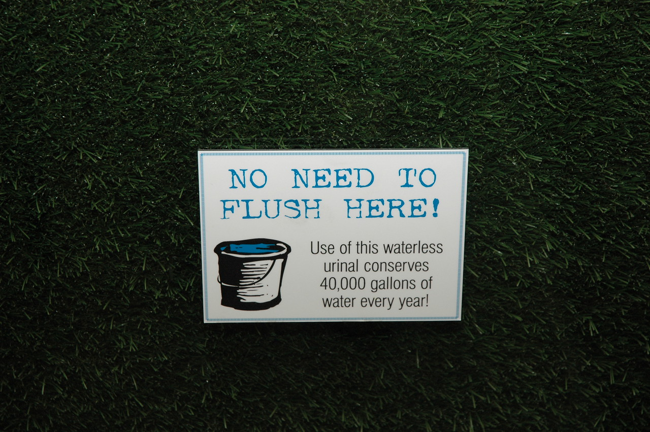 In the mens' room, one finds one of many earth-friendly aspects of True Food Kitchen's design and operation.