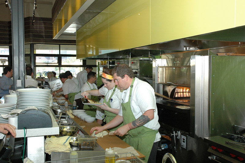 Dinner rush: The kitchen is open to the dining area, so guests can see how food is being prepared.