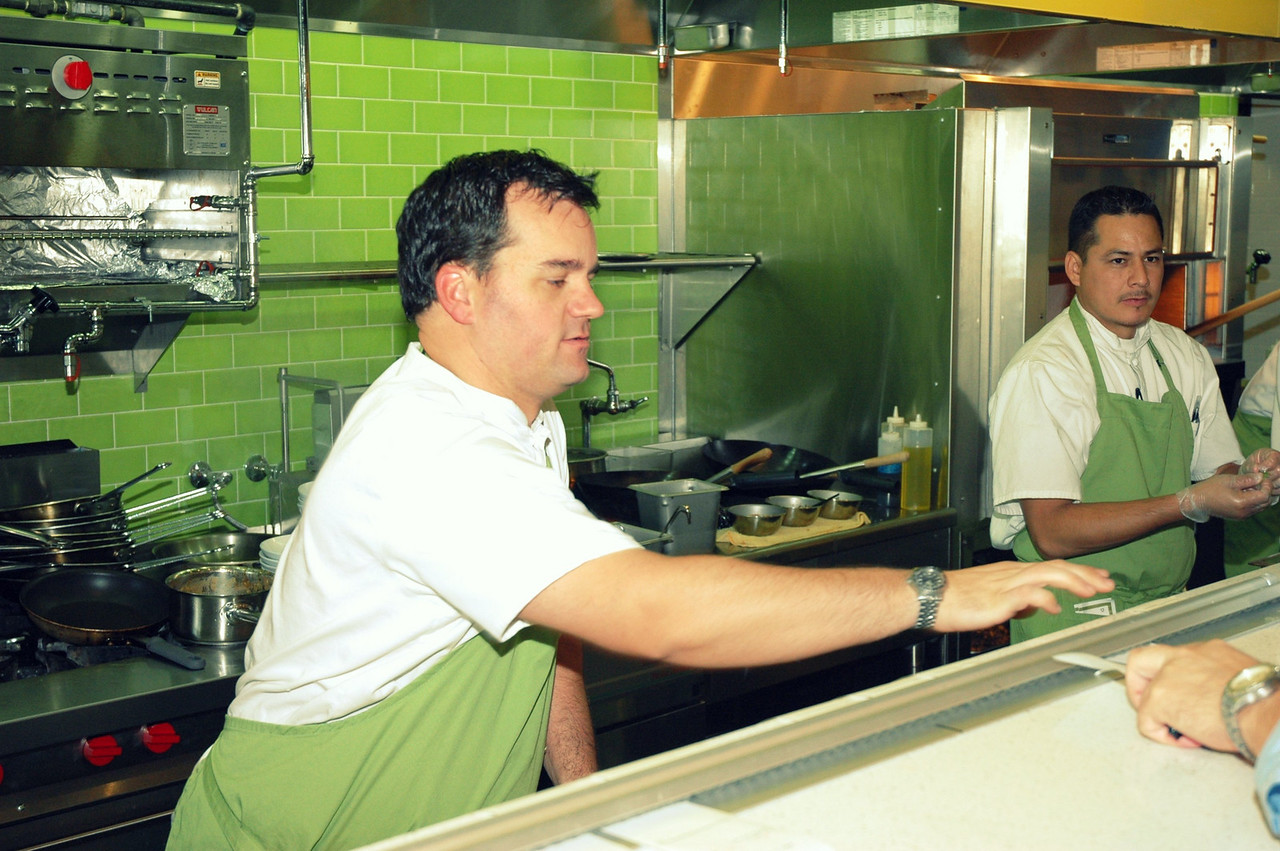 Stebner's kitchen is open to the dining room, so diners can watch, learn and enjoy the cooking process.