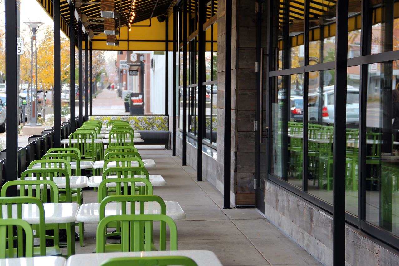 Outside patio view of the new True Food Kitchen in Denver