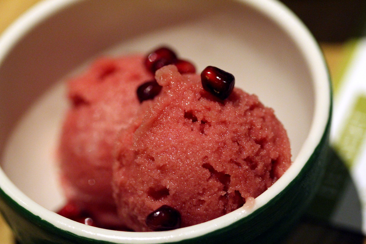 Pomegranate yuzu sorbet. Yuzu is a tart citrus fruit native to eastern Asia.