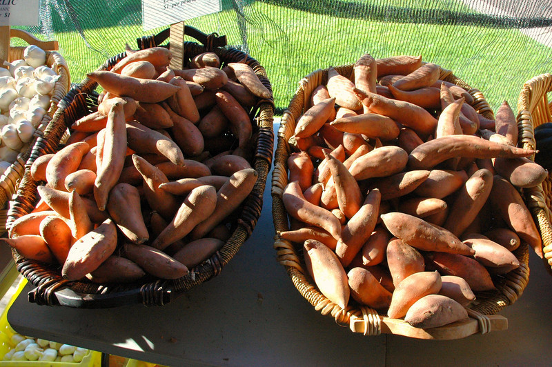 Marvelous sweet potatoes - baked, these can serve as the basis of a meal.