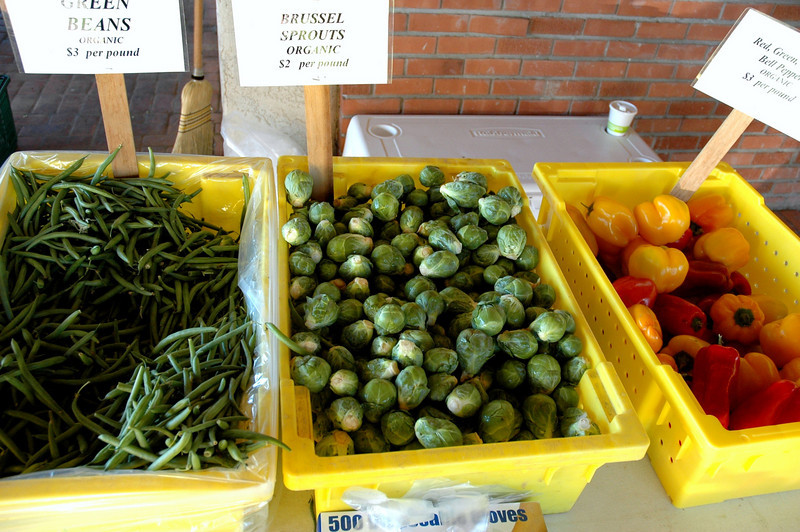 String beans, Brussels sprouts and sweet peppers at McClendon's.