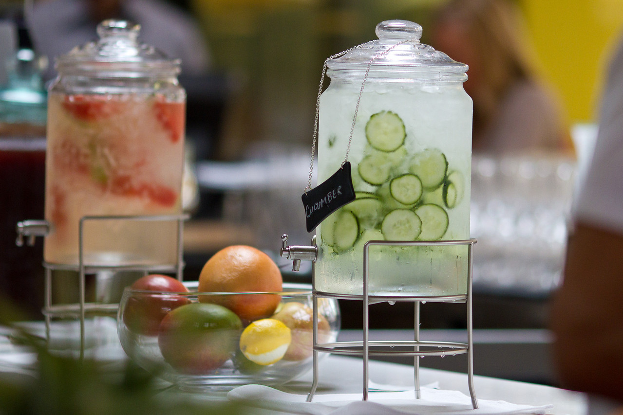 Fresh cucumber and melon water.