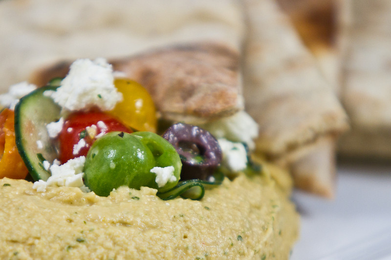 Herb Hummus with Pita Bread, Tomato, Onion & Feta